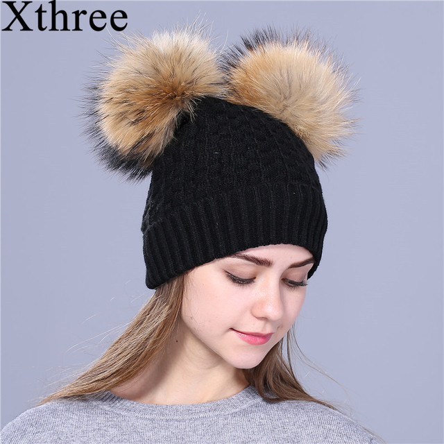 Xthree winter hat for women knitting beanies natural fur double pom poms  Skullies girls hat feminino cap d8c3ce0bd66