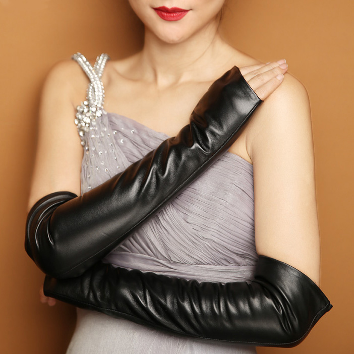 Women Half Palm Genuine Sheep Leather Long Elbow Gloves
