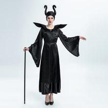 6435796a13d2d4 Halloween kobiety zła czarownica sukienka czarny śpiąca królewna królowa  Maleficent Cosplay kostium karnawał przebranie na przyj.