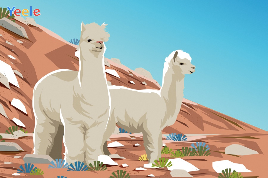 Yeele Cartoon Alpaca Mountain Landscape Professional Portrait Photography Backdrops Photographic Backgrounds For Photo Studio in Background from Consumer Electronics