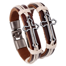 Fashion Genuine Leather Hollow out cross Bracelets & Bangles for couple Charm Wristband Jewelry lover Gift
