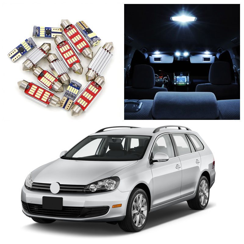 12pcs Super Bright Error Free White LED Interior Light Kit For 2010-2012 Volkswagen <font><b>VW</b></font> Jetta <font><b>Sportwagen</b></font> Map Door Trunk Lights image