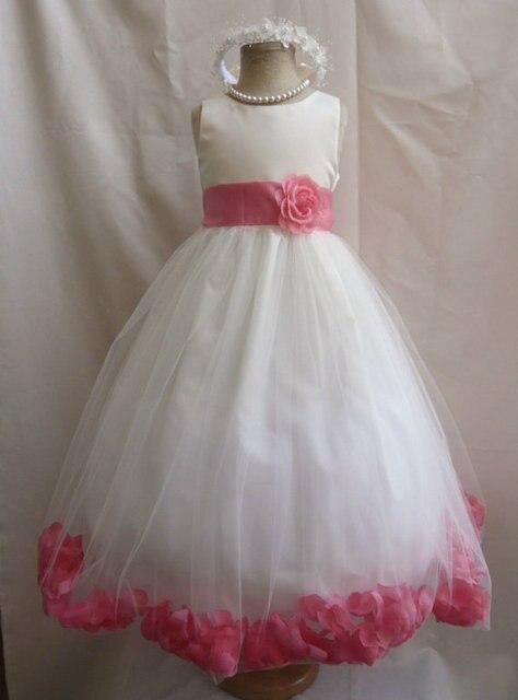967d77f50 Flower Girl Dresses - IVORY with Guava Rose Petal Dress Wedding Easter For  Baby Children Toddler Teen Girls