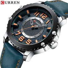 CURREN Casual Sport Watches For Men Blue Military Genuine Leather Strap Quartz Wrist Watch Mans Brand Clock Fashion Montre Homme