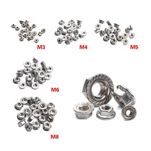 20Pcs 304 Stainless Steel Hexagon Flange Nuts M3 M4 M5 M6 M8 Lock Nut Set