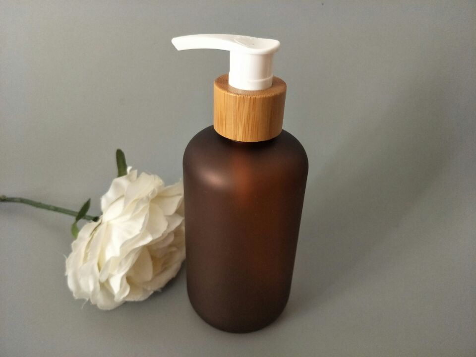10Pcs 250ml Frosting Brown PET Empty Bamboo Lotion Pump Bottle DIY Plastic Emulsion Refillable Pump shower