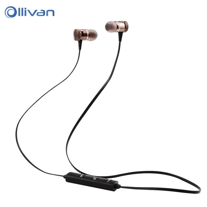 OLLIVAN LY-11 Magnetic Metal Headphones Sport In Ear Earphone Wireless Bluetooth Headpset with Mic for Iphone XiaoMi Smartphones