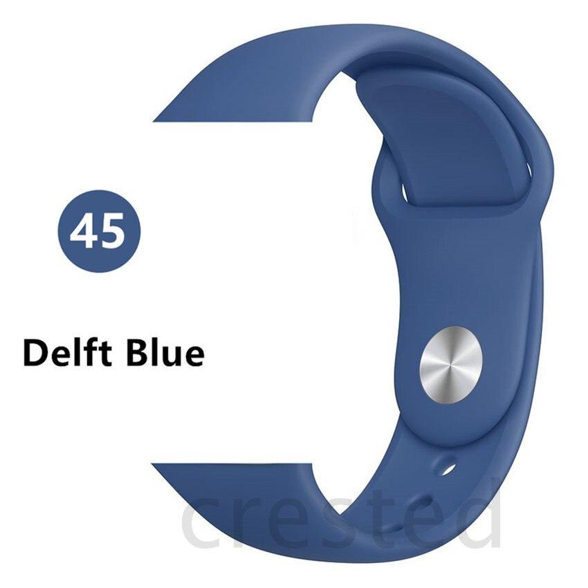 Силиконовый ремешок для apple watch 4 5 44 мм/40 мм спортивный ремешки для apple watch 3 42 мм/38 мм резиновый ремень браслет ремешок для часов apple watch Band Мягкий красочный ремешок iwatch series 4 3 2 1 - Цвет ремешка: Delft Blue