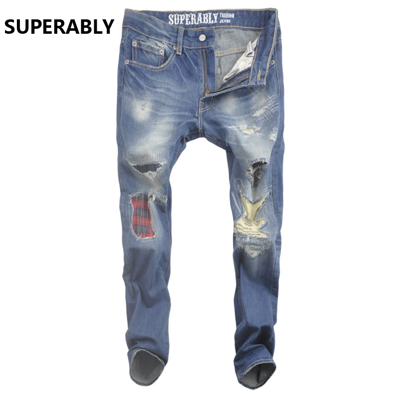 blue punk jeans men original superably brand jeans ripped with logo Slim Skinny denim men`s patchwork jeans skull U365 2017 slim fit jeans men new famous brand superably jeans ripped denim trousers high quality mens jeans with logo ue237
