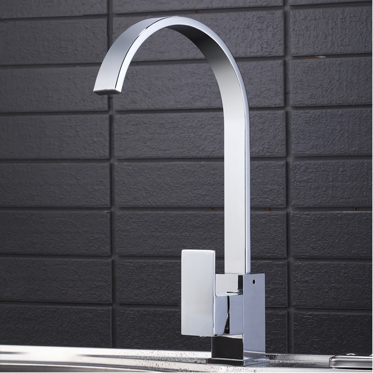 Kitchen Sink Faucet Mixer Tap Swi vel Spout Chrome Brass Square ...