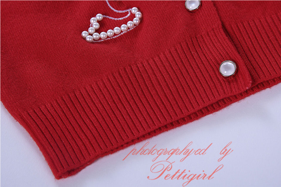 7e738d71cf03 Pettigirl Infant Girl Pearls Red Cardigans Swan Printed Embroidery ...