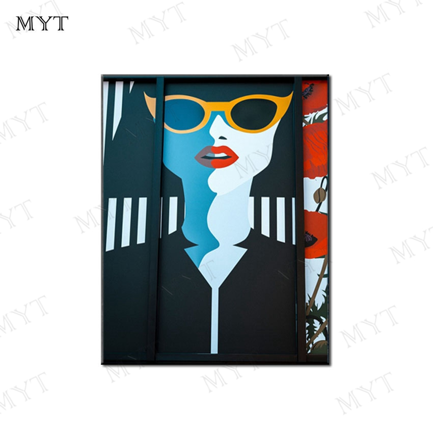 MYT Fashion Girls Wear Sunglas Abstract Oil Paintings On Canvas 100% Handmade Colorful Canvas Art Modern Art for Home Wall Decor