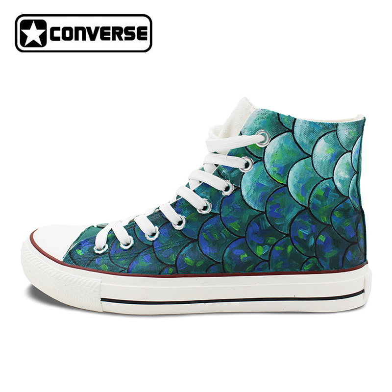 Men Women Hand Painted Converse Chuck Taylor Skateboarding Shoes Design Custom Fish Scale Canvas Sneakers High Top Flats Shoes