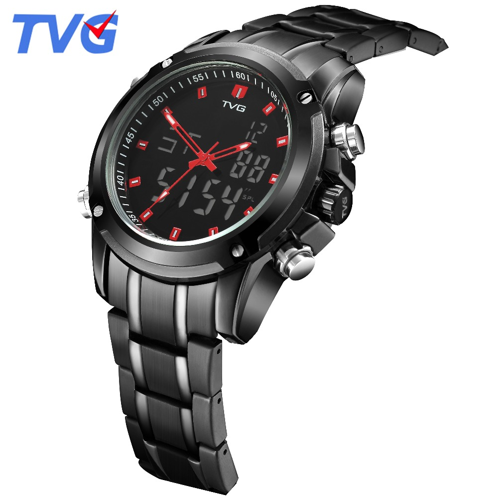 TVG Dress mens watches Fashion 2018 male clock Stainless Steel Sport Watch Date Day Week luxury men's Wrist Watches with tools wwoor business dress wrist watch men modern date week display stainless steel band mens watches classic luminous male clock gift