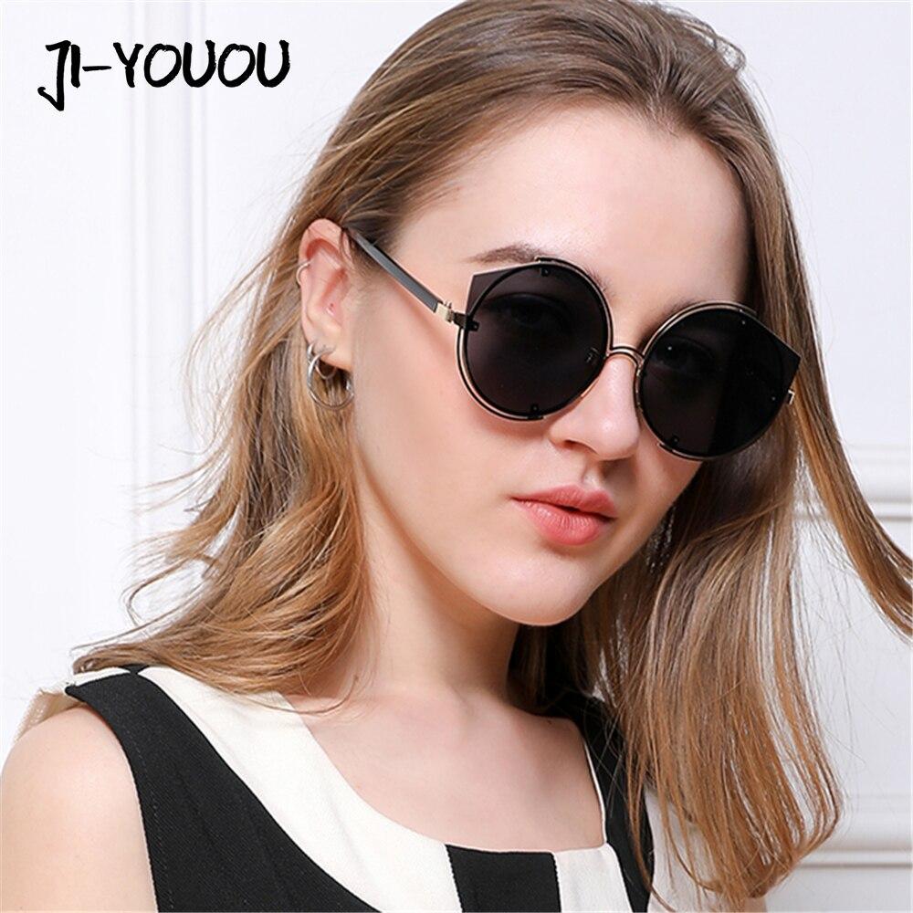 JIYOUOU sol para las mujeres 2018 nuevo diseñador de marca oversized Metal  frame alta calidad UV400 27a05076ac2c