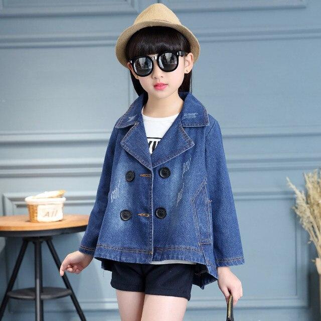 f6f41267a 2018 New Spring Girls Denim Jacket Turn down Collar Coat Full Sleeve ...