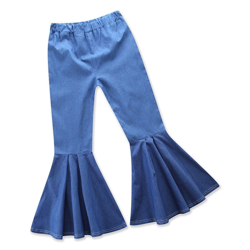 Mom Daughter Bell Bottoms Stretch Denim Flare Long Pants Boho Trousers Summer Family Matching Outfits