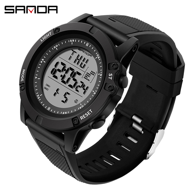 3ATM Waterproof Dual Time Fashion Digital Watches Male