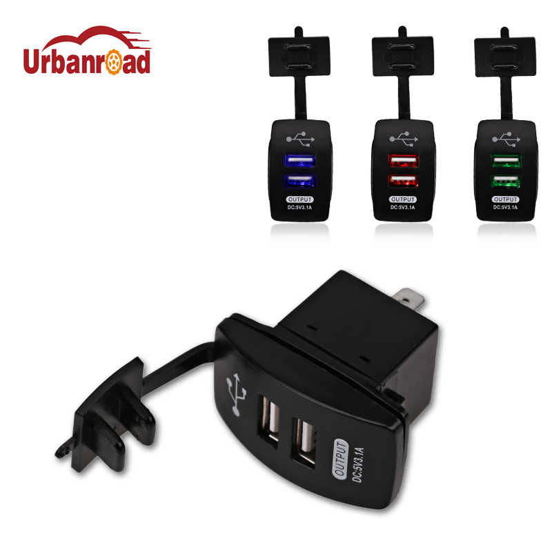 Waterproof Car Dual USB Socket Car Charger Power Adapter 3.1A 5V Output 12-24V LED Light For USB Mobile Charger For Iphone 6 6S