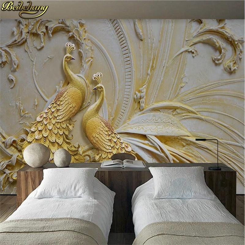 Купить с кэшбэком beibehang Custom photo wallpaper murals 3D relief golden peacock background wall wallpaper for walls 3 d papel de parede 3D