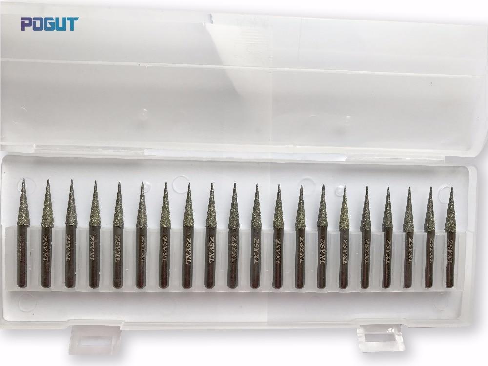 Купить с кэшбэком Length 60mm Diamond Burs Set DREMEL 6mm Conical Tip Head 6mm Shank Rotary Tool Drill Bit for grinding jade, stone, marble, glass