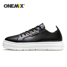 ONEMIX mens casual sports shoes leather skate simple soft small walking jogging flat