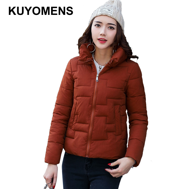 KUYOMENS Winter Jacket Women Cotton Short Jacket 2017 New Girls Padded Slim Hooded Warm Parkas Stand Collar Coat Female Autumn kuyomens 2017 women winter jacket coat cotton hooded thick warm loose women basic coats bomber jacket female autumn women coat