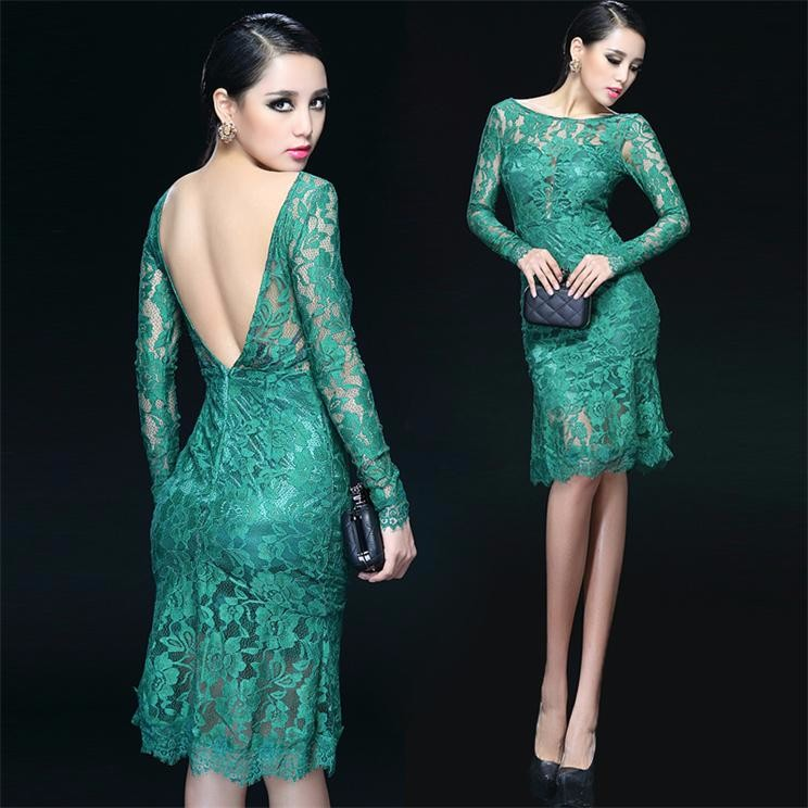 2019 Lace   Cocktail     dress   formal short straight backless sexy women party   dress   Custom Made