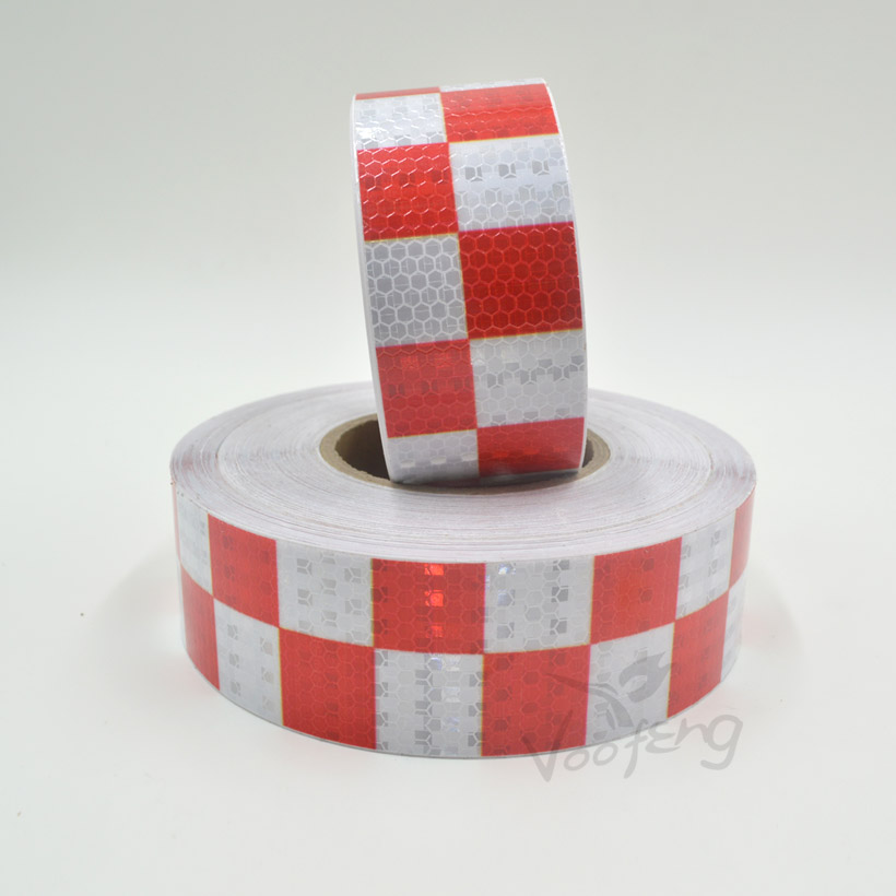 Купить с кэшбэком 5cmx5m Shining Red White Color Square Self-Adhesive Reflective Warning Tape for Body Signs