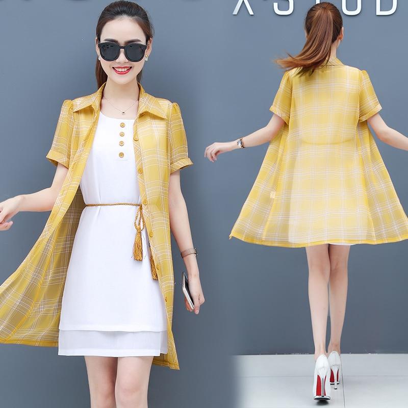 S 2xl Sleeveless Fringed Waistband Dress And Long Single breasted Short sleeved Cardigan 2 Piece Set Women White Chiffon Dresses