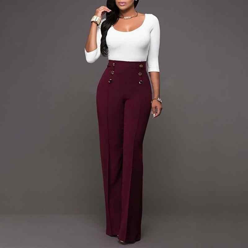 762482f76be ... 2019 модные брюки Труба Длинные брюки Женщины Высокая талия Молния fly  широкие брюки тонкие брюки белый