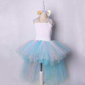 Image 2 - Пастельное Радужное платье пачка с единорогом для девочек, платье на день рождения с повязкой на голову, детское платье принцессы на Хэллоуин, костюмы