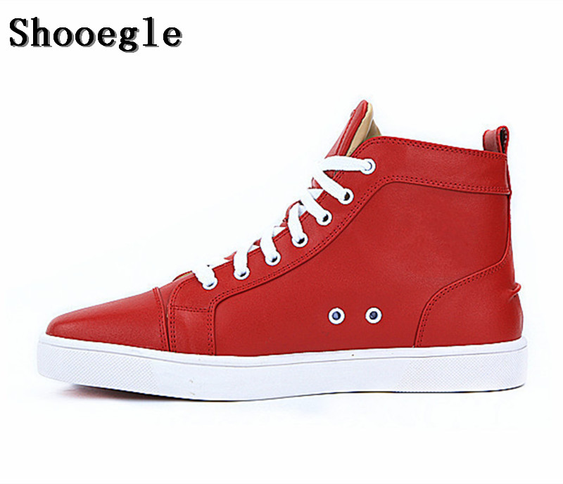 SHOOEGLE New Brand Fashion Men Shoes Casual Red Lace-up High-top Sneakers Man Flat Leather Platform Ankle Boots Motorcycle Boots men casual trend for fashion lace up outdoor hiking flat type ankle leather shoes