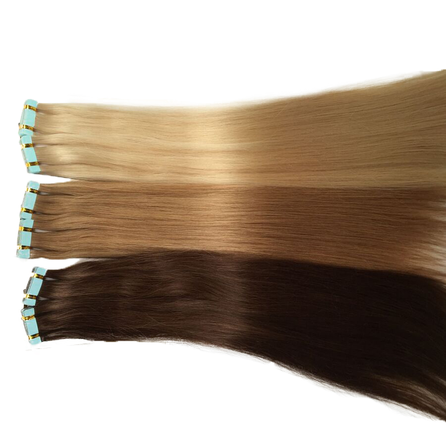 Double Drawn European Remy Human Hair Extensions Skin Weft Color 1 2 4 6 8 27