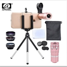 Cheaper APEXEL mobile phone lentes kit 10x zoom Telescope telephoto camera Lens for iPhone Samsung s7 j5 galaxy xiaomi mi andriod phones