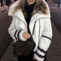 women faux lamb fur jacket coat winter outwear casual motorbiker short bomber leather white furry sheep fuzzy belt zipper