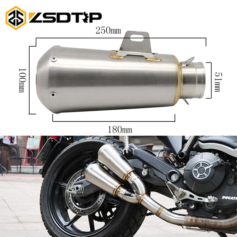 ZSDTRP Motorcycle Exhaust Pipe Scooter SC AR AK Modified 51mm Exhaust Muffler Pipe For KAWASAKI ER6N Z800 Z900 Z1000
