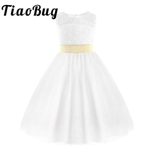 TiaoBug Teenage Kids Princess Flower Girls Dress Kids Pageant Wedding Bridal Birthday Party First Communion Prom Formal  Dress