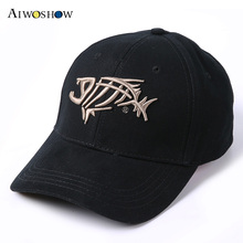 2017 Fishing Cap Baseball Cap For Men Sunshade Sun Fish Bones Embroidered Cap Fishing Hook High Quality Fashion Dad Hat G.loomis