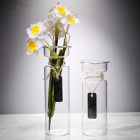 Simple Glass Vase Transparent Pastoral Water Culture Flower Implement Household Handicraft Candlestick Drop Shipping