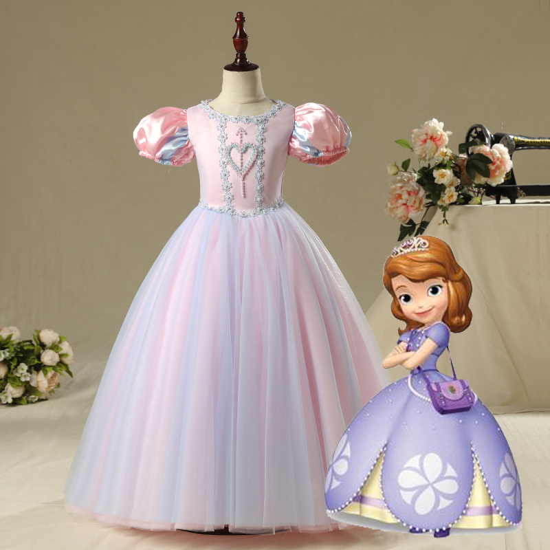 New Elsa quality anna Princess Belle Formal Girl Dresses Elegant Draped Ball Gown Evening Sofia Dress Children Cinderella Party