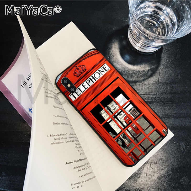 MaiYaCa london bus england telephone Soft Rubber black Phone Case for Apple iPhone 8 7 6 6S Plus X XS MAX 5 5S SE XR Cover