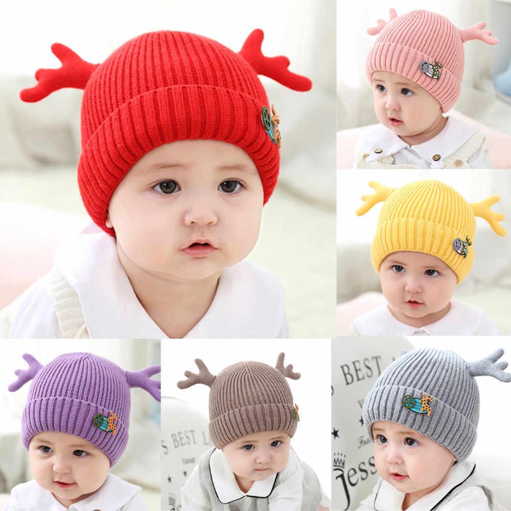 2b3eab62bc3 1PC Children Christmas Newborn baby hat Boy Girl Cap Deer Hat Winter Warm  Knit Crochet Beanie