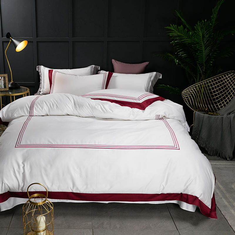 Famvotar Premium Hotel Quality Design 60S Bedding Set 100 Egyptian Cotton Sateen Duvet Cover Set Embroidered
