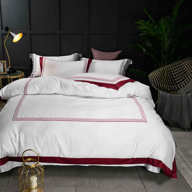 Famvotar Premium Hotel Quality Design 60S Bedding Set 100% Egyptian Cotton Sateen Duvet Cover Set Embroidered Lines Bed Linen