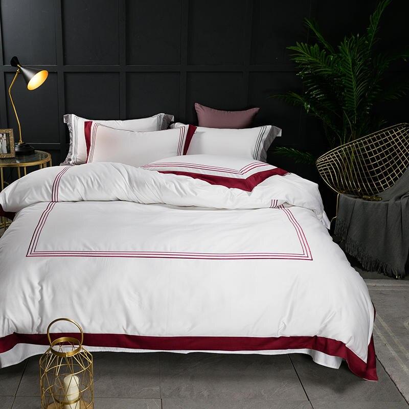 Famvotar Premium Hotel Quality Design 60S Bedding Set 100% Egyptian Cotton Sateen Duvet Cover Set Embroidered Lines Bed Linen