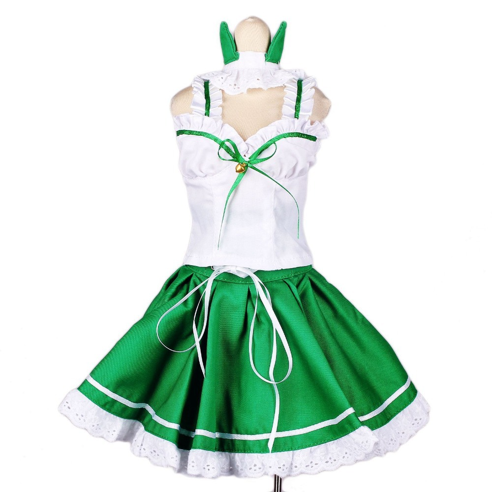 [wamami] 129# Green&White Cat Ear Dress/Suit 1/3 SD DOD BJD dollfie