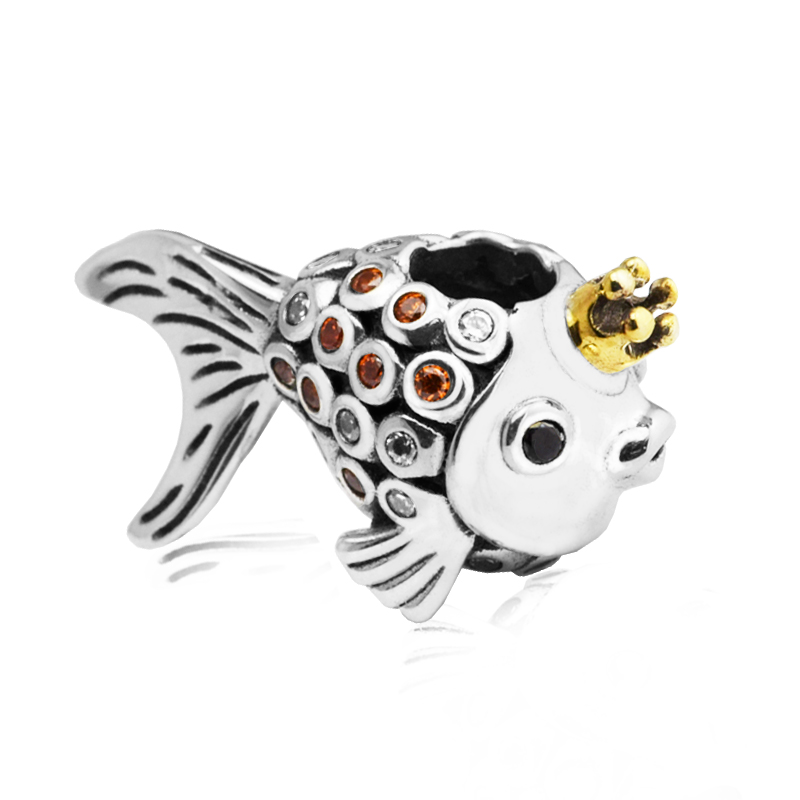 Crown goldfish Beads In font b Gold b font Color Fish Charm Original 925 Silver Fit