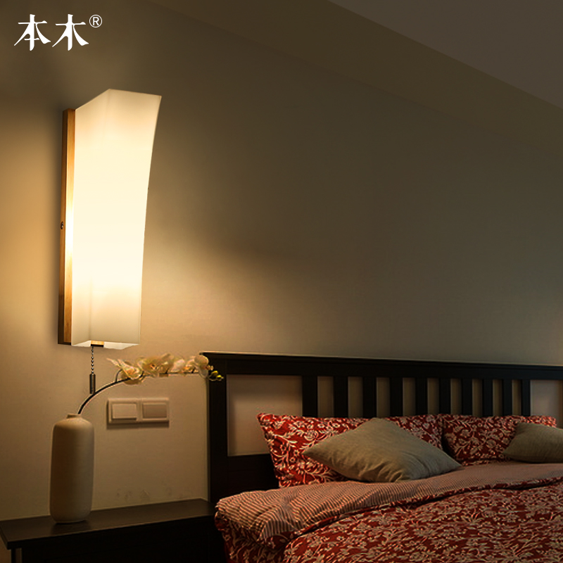 Modern Japanese Style Led Lamp Oak Wooden Wall Lamp Lights