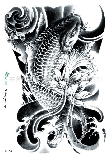22 16cm Tattoo Sticker Koi Fish Lotus Spray Designs Halloween Color
